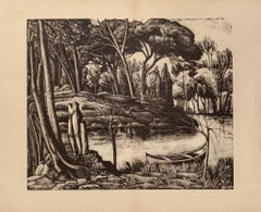 Landscape - Original Lithograph on Paper by Diego Pettinelli - 1937