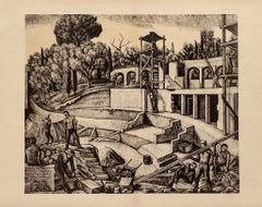 Construction - Original Lithograph on Paper by Diego Pettinelli - 1930s