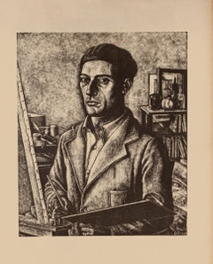 Self-Portrait - Original Lithograph on Paper by Diego Petinelli - 1939