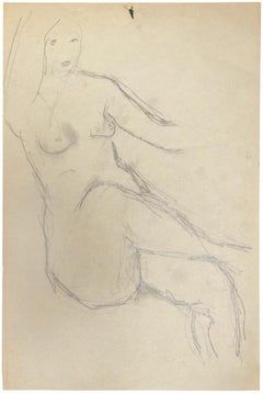 Female Nude - Original Drawing in Pencil by Herta Hausmann - Mid-20th Century