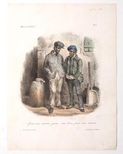 Miroir de Paris - Original Lithograph and Pouchoir by E. J. Pigal - 19th Century