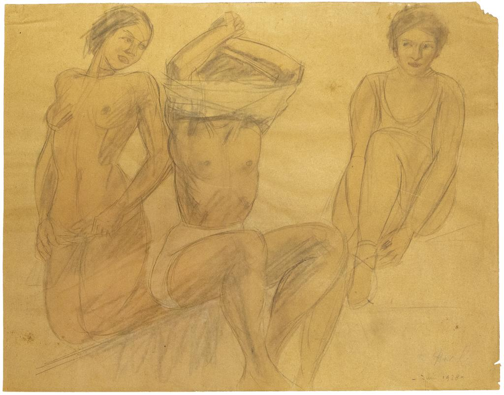 Figures - Original Pencil and Oil Pastel on Paper by O. Roche - 1938