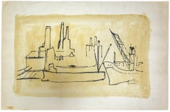 The Port - Original Drawing in Pen by Herta Hausmann - 1930 ca.