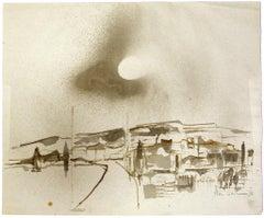 Landscape - Original Watercolor on Paper by Herta Hausmann - Mid-20th Century