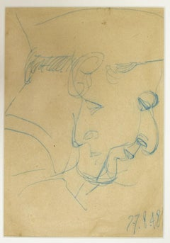Portrait - Original Blue Pencil on Paper - 1948