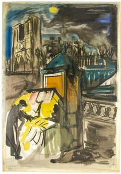 Les Bouquinistes de Notre Dame, Paris - Original Watercolor on Paper - 1950s