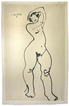 Nude - Original China Ink on Paper by Tibor Gertler - 1940s