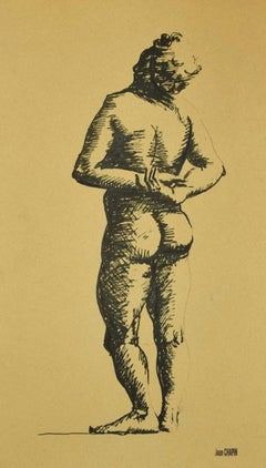 Nude Figure - Original Ink on Paper by Jean Chapin - Early 1900