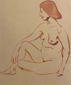 Nude of Woman - Original Watercolor by Jean Delpech - 1930s