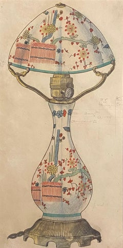 Porcelain Lumen - Original Ink and Watercolor - 1890s