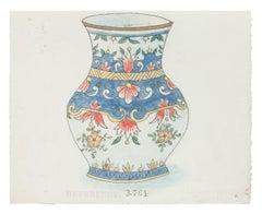 Porcelain Vase - Original China Ink and Watercolor - 1890s