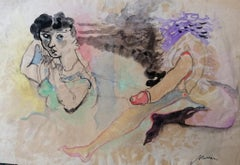 The Hermaphrodite - Original Ink and Watercolor by Mino Maccari - 1950s
