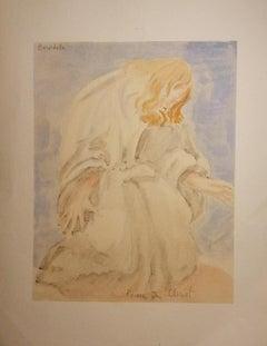 Prière du Christ - Original Watercolor - Early 20th Century