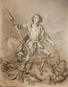 Saint Michael - Original Pencil and Charcoal Drawing - Early 20th Century