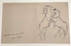 Horses  - Original China Ink Drawing by Yves Brayer - 1954