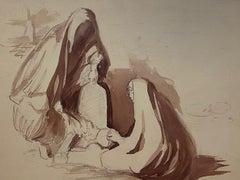 Devotion - Original Watercolor - Early 20th Century