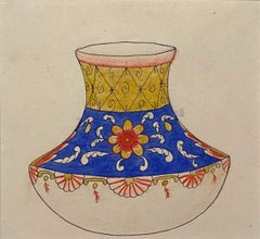 Porcelain Vase - Original China Ink and Watercolor - Late 19th Century