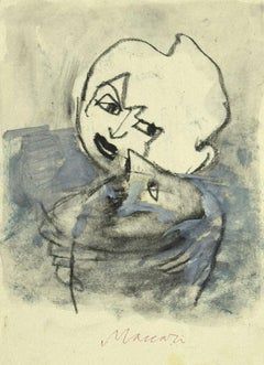 Portrait - Original Pencil and Watercolor on Paper by Mino Maccari - 1985