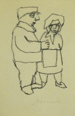 Figure - Original Charcoal on Paper by Mino Maccari - 1980s