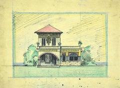Villa - Ink and Pastel Drawing by Gabriele Galantara - Early 20th Century