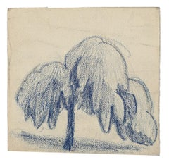Tree - Original Pastel Drawing by Marcel Guillard - Mid-20th Century