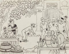 Bowl Players - Original Drawing by Angelo Griscelli - Mid-20th Century