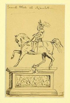 Emanuele Filiberto Monument - Original Black Pen Drawing - 1850s