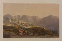 Troop Movement - Original Ink and Watercolor by Gaspard Gobaut - 19th Century