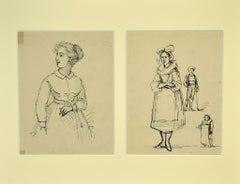 Studies of Figures - Original Pen on Paper - 1850s