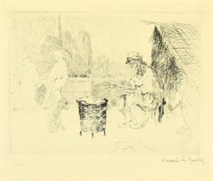 Chestnut Seller - Original Etching and Drypoint by Henri de Rachy - 1916