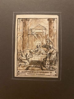 First Communion - Original Ink Drawing + Etching by Louis Willaume
