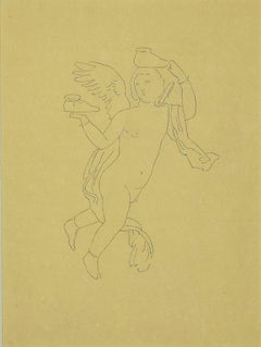 The Angel without Shoes - Original Pen Drawing on Paper - 1850s