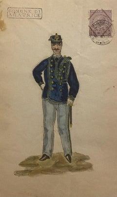 Figurino della Divisa [...] - Original Watercolor on Paper - 1881