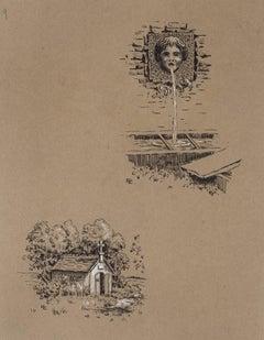 Studies - Original China Ink on Paper - Late 19th Century