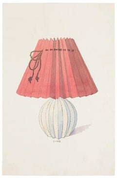 Lamp - Original China Ink and Watercolor - Late 19th Century
