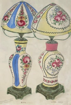 Porcelain Lumen - Original China Ink and Watercolor - 1890s