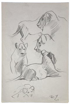 Young Lions - Original Drawing by Wilhelm Lorenz - Mid-20th Century