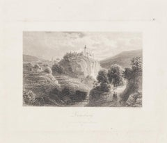 View of Zenoburg - Original Etching by D. Lloyd - Early 20th Century