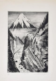 Waterfall - Original Etching on Paper by Camille Quesneville - Mid-20th Century