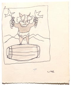 Bacchus - Original Pen and Watercolor on Paper by Mino Maccari -Mid-20th century