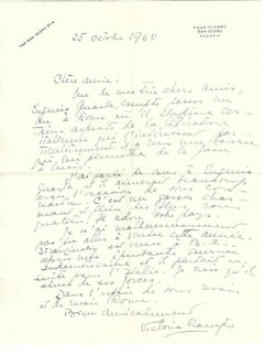 Autograph Letter by Victor Ocampo - 1960