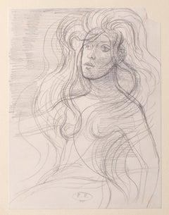 Portrait  - Original Pencil on Paper by Eugène Berman - 1970s