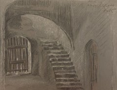 Interior of a House - Original Mixed Media Drawing - 19th Century