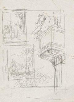 Studio per l'Asino - Original Pencil Drawing by Gabriele Galantara - 1937