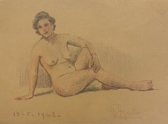 Nude of Woman - Original Pencil and Pastels Drawing - Mid-20th Century
