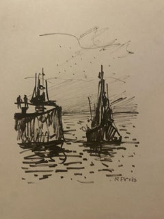 Fishing Boat on the Sea - Original Pencil Drawing - Early 20th Century