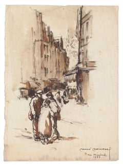 Arab City Square - Original China Ink and Watercolor - Mid-20th Century