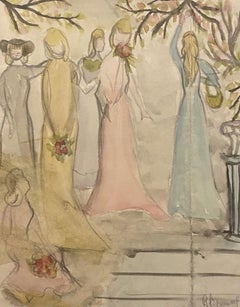 Girls in the Garden - Original Pencil and Watercolor - Mid-20th Century