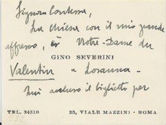 Gino Severini's Business Cards with Notes - 1940s