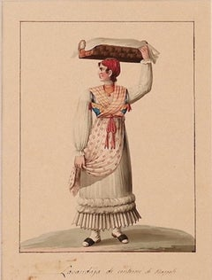 Laundress of Naples - Ink and Watercolor by Michela De Vito - 19th Century